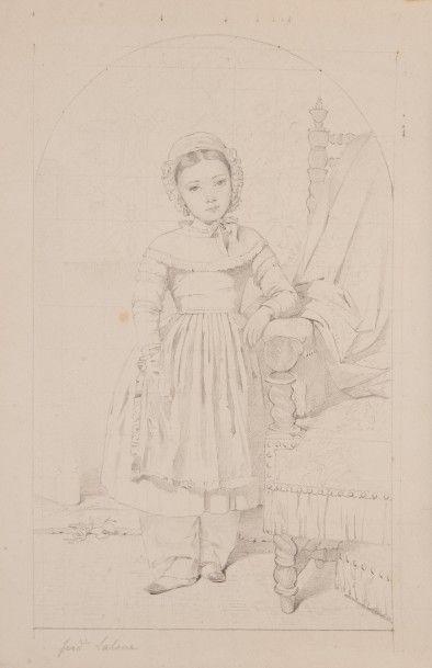 Edme-Adolphe FONTAINE (1814-1883) Portrait en pied de Mademoiselle Ferdinande Lalane...