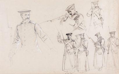 Edme-Adolphe FONTAINE (1814-1883) Soldats russes en action  Etude pour le tableau...