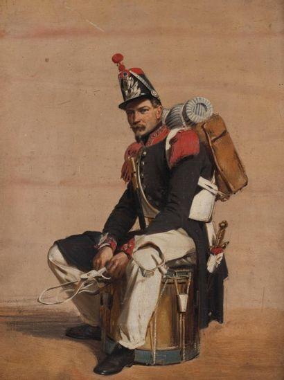 Edme-Adolphe FONTAINE (1814-1883) Le tambour du régiment  Huile sur panneau  24,8...