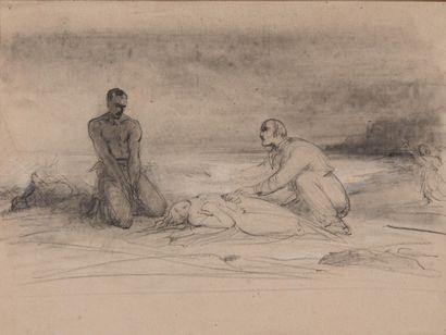Edme-Adolphe FONTAINE (1814-1883) Projet pour une illustration de « Paul et Virginie...