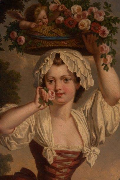 Ecole FRANÇAISE de la fin du XVIIIème siècle La marchande de fleurs Huile sur toile...