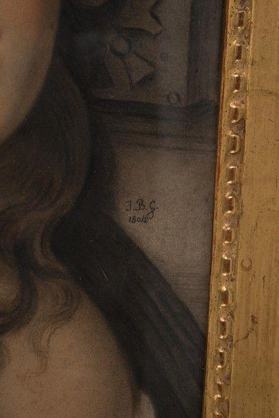 Attribué à Jean-Baptiste GREUZE (1725-1805) Portrait d'une jeune fille au ruban...