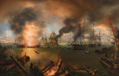 Louis-Philippe CRÉPIN (1775-1848) La Bataille de Navarin, 1827  Huile sur toile  82...
