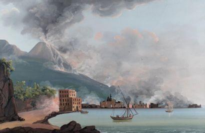 Ecole NAPOLITAINE vers 1830 La destruction de Torre del Greco en 1794, nocturne...