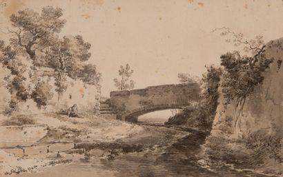 Jean-Antoine CONSTANTIN dit CONSTANTIN D'AIX (1756-1844) Paysage près d'un pont...