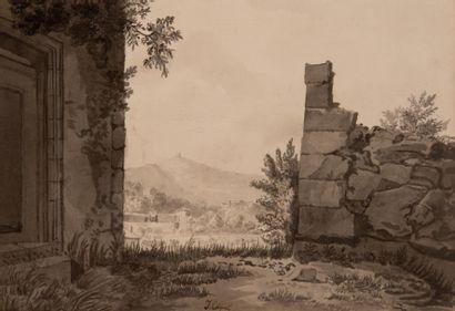 Jules Louis-Philippe COIGNET (1798-1860) Paysage  Dessin à la plume et au lavis...
