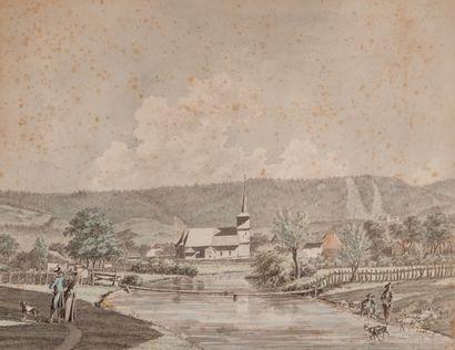 Jacques SABLET (1749-1803) Couple d'élégants promeneurs près d'un village  Aquarelle...