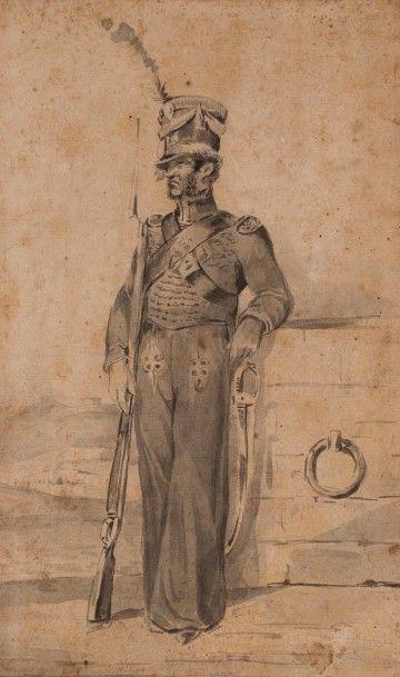 Joseph-Louis-Hippolyte BELLANGE (1800-1866) L'Infanterie de Marine, verso : Carabinier...