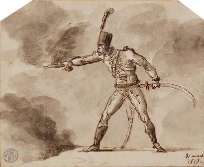 Jacques-François Joseph SWEBACH-DESFONTAINES (1769-1823) Deux dessins :  - Etude...