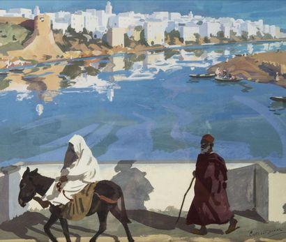 Raymond CRETOT-DUVAL (1895-1986) Vue d?Azzemour (Maroc). Gouache. Signée en bas à...