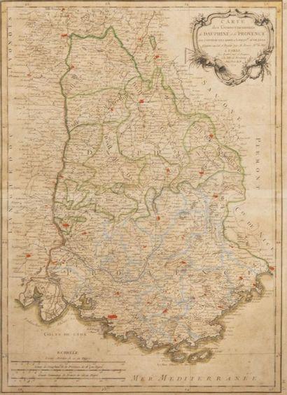 Carte géographique du Dauphiné et de la Provence...