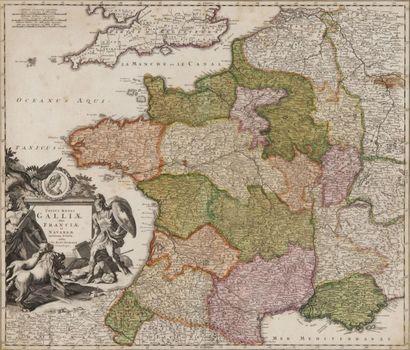 Carte géographique de France par Homann XVIIIème...