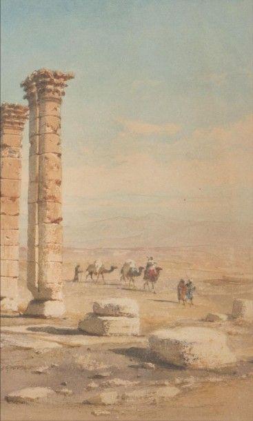 Carl HAAG (1820-1915) The Triumphal Arch at Palmyra, 1873. Aquarelle. Signée, titrée...