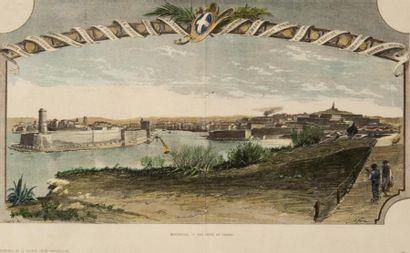 Vue du port de Marseille du Pharo Gravure....