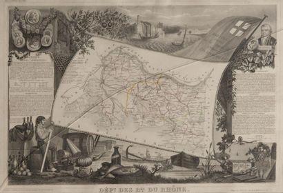 Les Bouches-du-Rhône Gravure. 27 x 36 cm