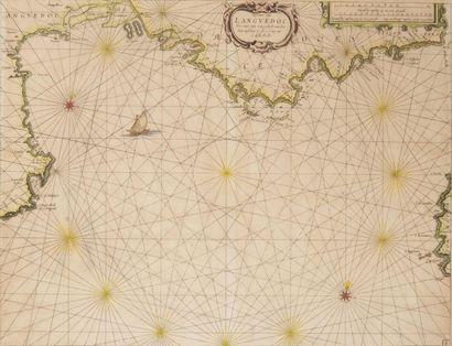 Carte marine du Languedoc Gravure. Epoque...