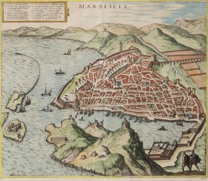 Vue de Marseille par Tortorel Gravure. Epoque...