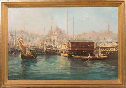 François Léon PRIEUR-BARDIN (1870-1939) Vue du Bosphore, 1901. Huile sur toile. Signée...