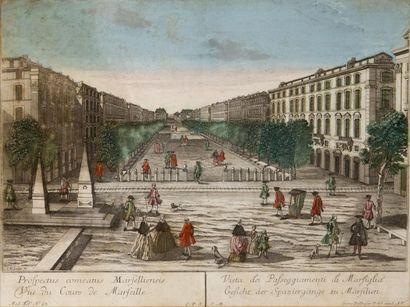 Vue d?optique du cour à Marseille XVIIIème...