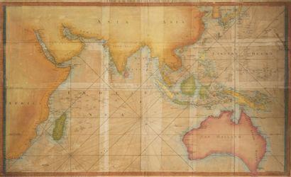 Carte marine de l?Océan Indien XVIIIème siècle....