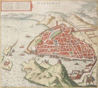 Gravure de Marseille par Braun Fin XVIème...