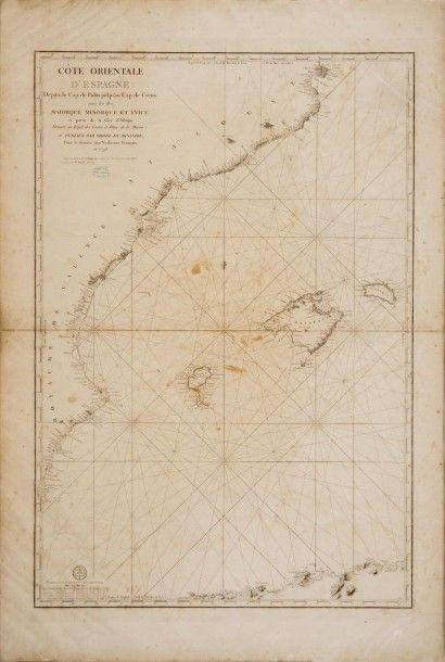 Carte marine Baléares XVIIIème siècle. 104...