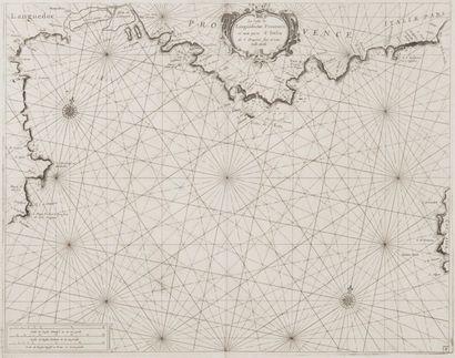 Carte marine des côtes du Languedoc à la...