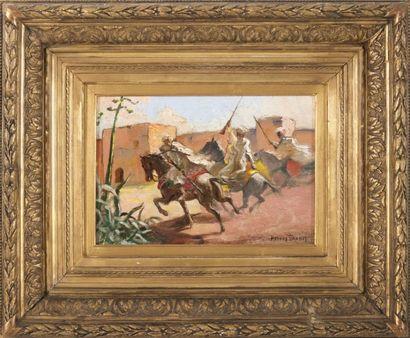 Mattéo BRONDY (1866-1944) Fantasia devant les remparts de Marrakech. Huile sur panneau....