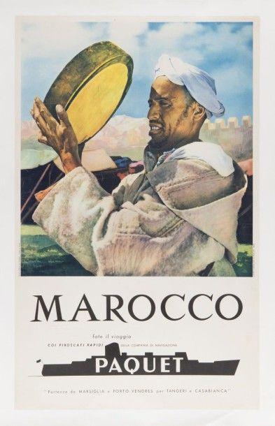 Compagnie Paquet - Maroc Affiche entoilée,...