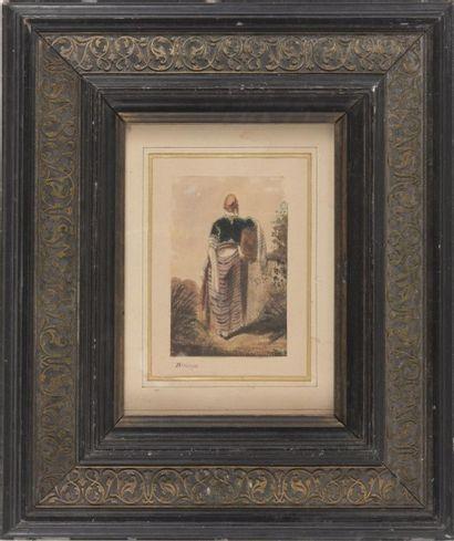 Alexandre-Gabriel DECAMPS (1803-1860) Un Turc vu de dos. Aquarelle monogrammée. 12,7...