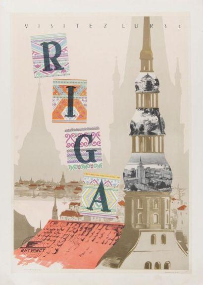 Visitez l?U.R.R.S. Riga 1958 Affiche entoilée,...