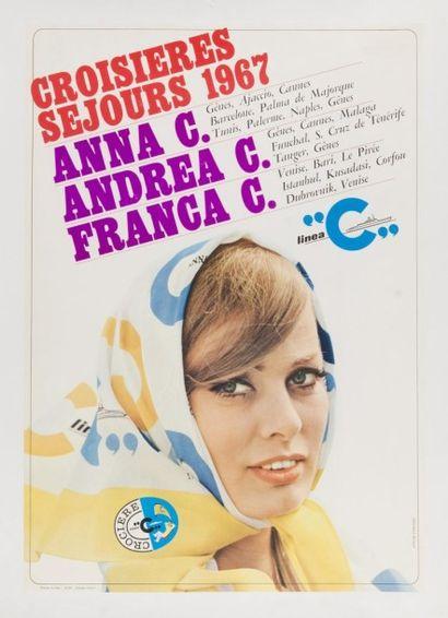 Croisières Linéa - Italie 1967 Affiche entoilée,...