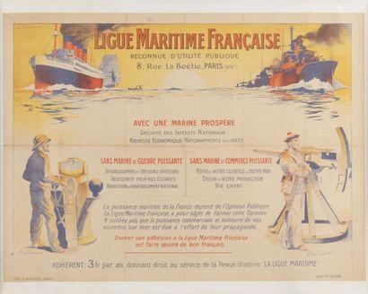 Ligne Maritime française Affiche entoilée,...
