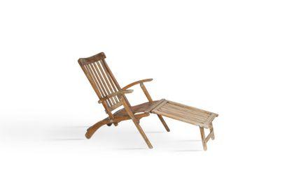 Paire de chaises longues de paquebot Bois....