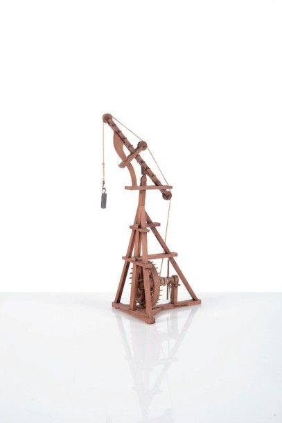 Maquette de machine à mater en bois XXème...