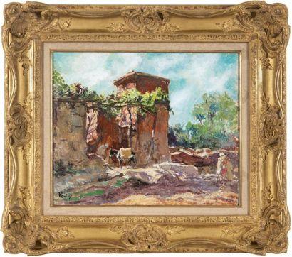 Henri Jean PONTOY (1888-1968) Maison dans l?Atlas. Huile sur toile. Signée en bas...