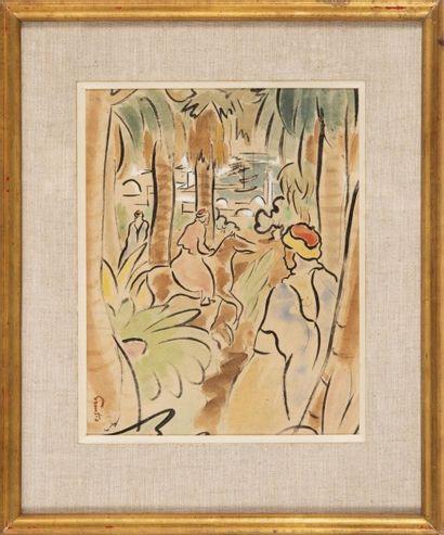 Alfred FIGUERAS (1900-1980) Cavalier «jardin d?essai» (Alger) avec vue sur l?amirauté....