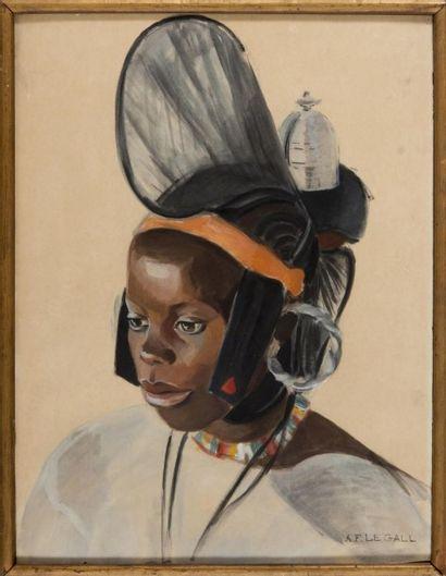 A.F. LEGALL Portrait d?une africaine. Aquarelle sur papier. 68 x 49 cm