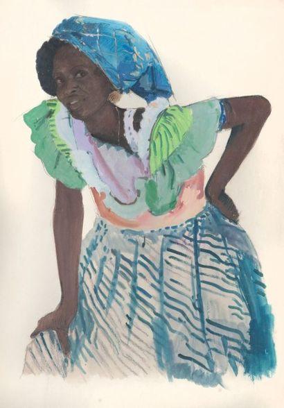 Jacques MAJORELLE (1886-1962) Beauté africaine. Technique mixte. Tampon de la signature...