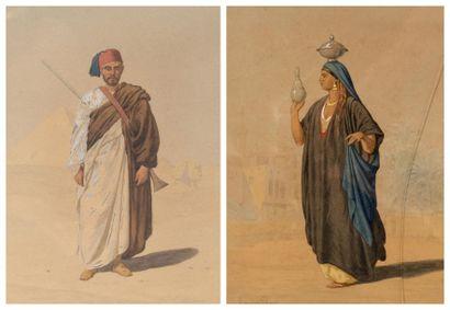 Louis Emile PINEL DE GRANDCHAMP (1831-1894) Tirailleur égyptien devant Gizeh; Egyptienne...