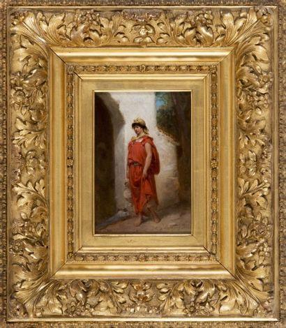 Hippolyte LAZERGES (1817-1887) Femme à la fontaine. Huile sur panneau d?acajou. Signée...