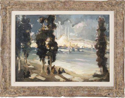 Horace CRISTOL (1878-1959) Vue de Sainte Sophie, Istanbul. Composition mixte: huile,...