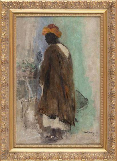 Albert SEBILLE (1874-1953) Porteur d?eau fumant une cigarette. Huile marouflée sur...