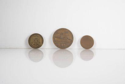3 Médailles commémoratives GENERAL MANGUIN...
