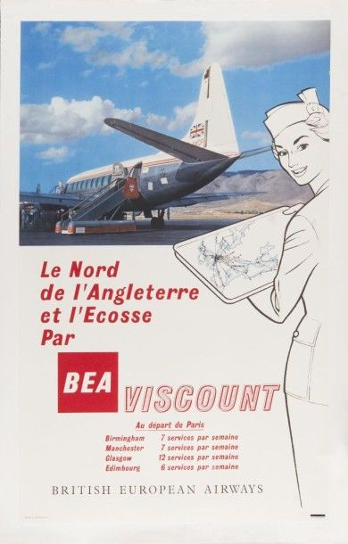 BEA British European Airway 1959 Affiche...