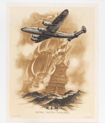 KLM Affiche entoilée, bon état. 66 x 50 ...