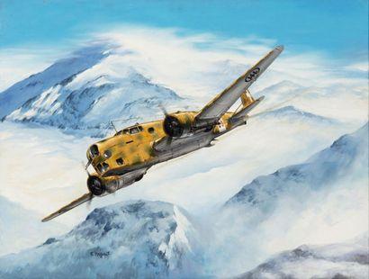 F. Mazzonis Avion BR20. Huile sur toile....