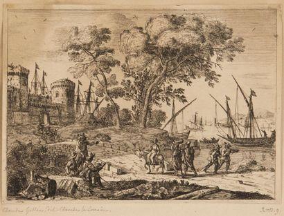 CLAUDE GELLEE DIT CLAUDE LORRAIN (1600-1682) Voyageurs près d?un port. Vers 1640....