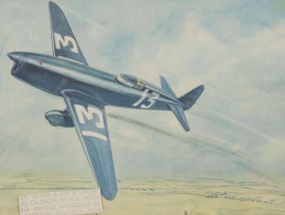 Avion Caudron Renault Lithographie 32 x 42...