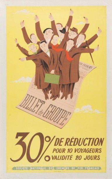 SNCF 30% de réduction 1947 Affiche entoilée...